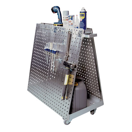 Metal Plated Pegboard Tool Tray Cart